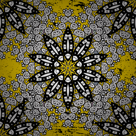 tillable: Ornate vector decoration. Damask pattern background for sketch design in the style of Baroque. Golden pattern on yellow background with golden elements.