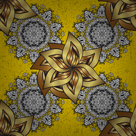 Traditional orient ornament. Classic vintage background. Vector illustration. Classic vector golden pattern. Pattern on yellow background with golden elements.