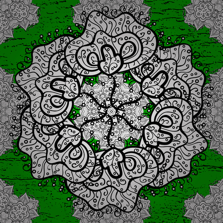 Vector white mehndi pattern. Ornamental floral elements with henna tattoo, white stickers, mehndi and yoga design, cards and prints. Pattern on green background with white elements. Illustration