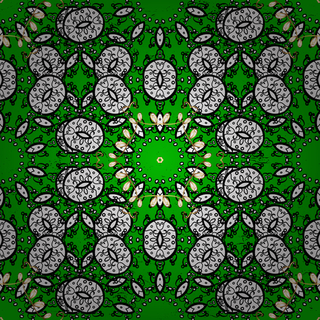 Ornate vector decoration. Damask pattern background for sketch design in the style of Baroque. Golden pattern on green background with golden elements. Illustration