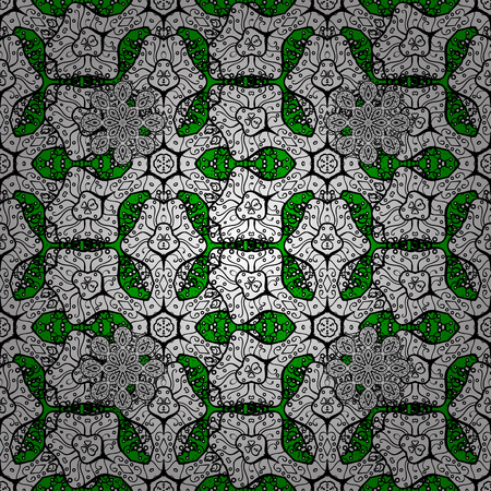 caras emociones: Christmas, snowflake, new year. Vintage pattern on green background with white elements. Vectores