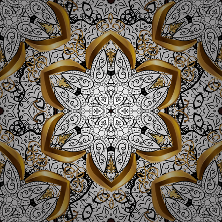 Seamless oriental ornament in the style of baroque. Traditional classic vector golden seamless pattern. Brown background with golden elements.