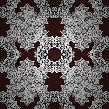 reticulated: Seamless textured curls. Oriental style arabesques white pattern on a brown background with white elements. Vector white pattern.