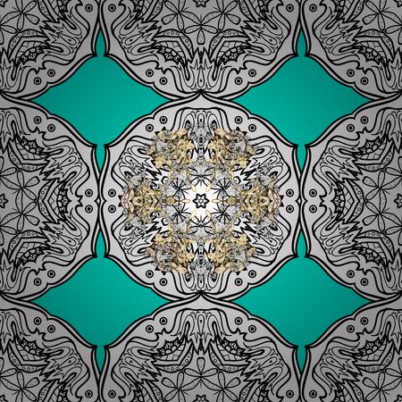 Blue background with golden elements. Vector golden floral ornament brocade textile pattern, white doodles. Seamless golden pattern. Metal with floral pattern. Illustration