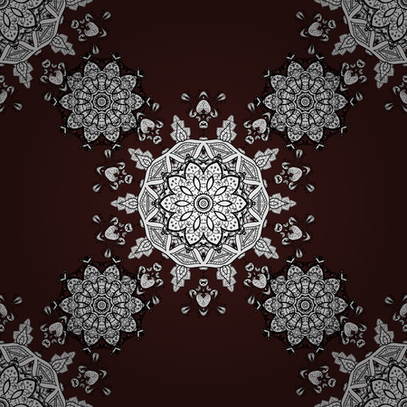 Classic vintage background. Classic vector white seamless pattern. Traditional orient ornament. Seamless pattern on brown background with white elements.