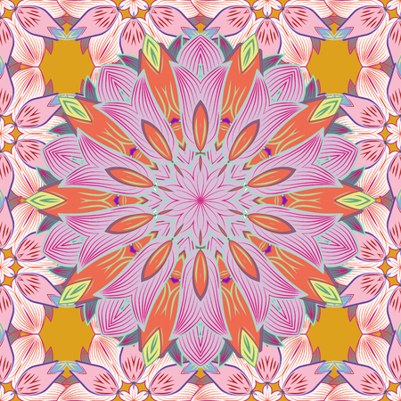 Multicolor ornament of small simple flowers, vector abstract seamless pattern for fabric or textile design. Çizim