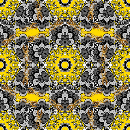 Vintage pattern on a yellow background with golden elements. Vector illustration.