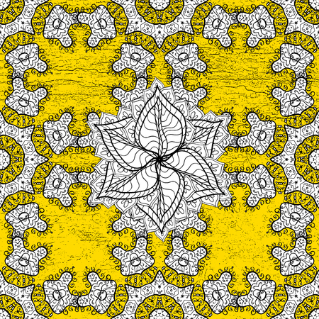 Oriental ornament in the style of baroque. Traditional classic golden vector pattern on yellow background with golden elements.
