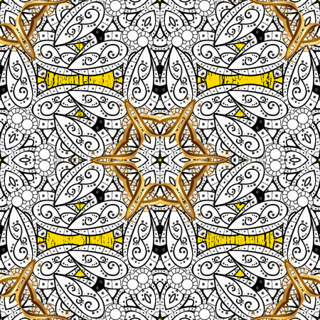 Luxury, royal and Victorian concept. Ornate decoration. Golden pattern on yellow background with golden elements. Vector vintage baroque floral pattern in gold.