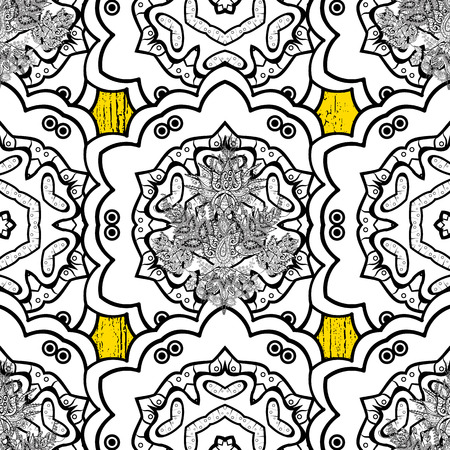 Floral ornament brocade textile pattern, glass, metal with floral pattern on yellow background with golden elements. Classic vector golden pattern.