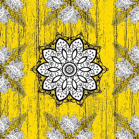 Vector golden pattern. Golden textured curls. Oriental style arabesques. ?attern on yellow background with golden elements.