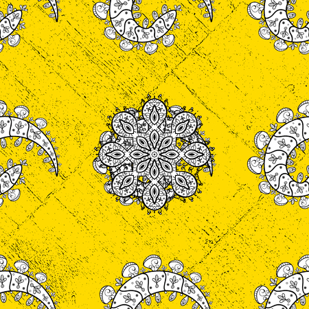 Traditional classic golden pattern. Vector oriental ornament. Oriental ornament in the style of baroque. Golden pattern on yellow background with golden elements.