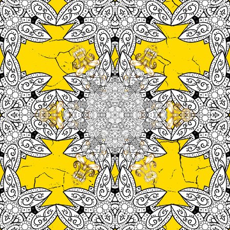 Pattern medieval floral royal pattern. Ornamental on yellow background. Vector illustration. Good for greeting card for birthday, invitation or banner. Decorative symmetry arabesque. Illustration
