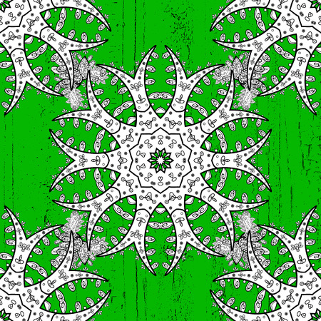 White pattern on green background with white elements. Luxury, royal and Victorian concept. Ornate decoration. Vector vintage baroque floral pattern in rough.