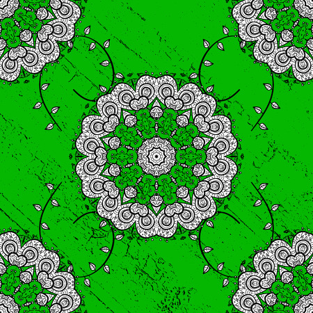 Traditional arabic decor on green background. White ornate illustration for sketch. Vintage design element in Eastern style. Ornamental lace tracery. Vector pattern with floral ornament.