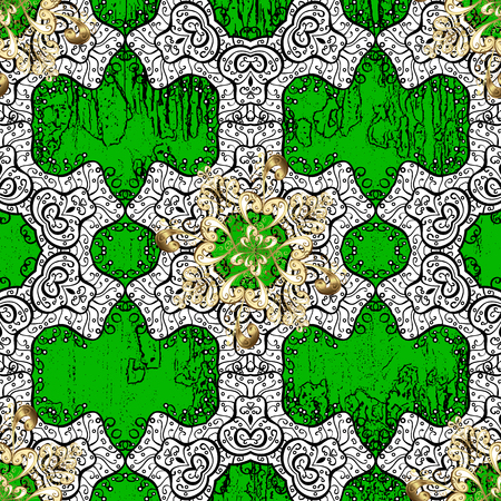 friso: Golden pattern. Metal with floral pattern. Green background with golden elements. Vector golden floral ornament brocade textile pattern.