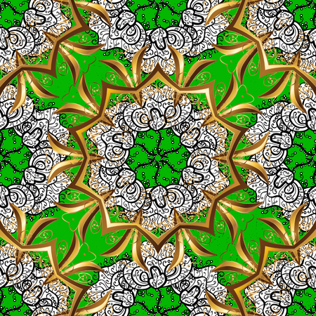 Oriental ornament in the style of baroque. Vector oriental ornament. Golden pattern on green background with golden elements. Traditional classic golden pattern.