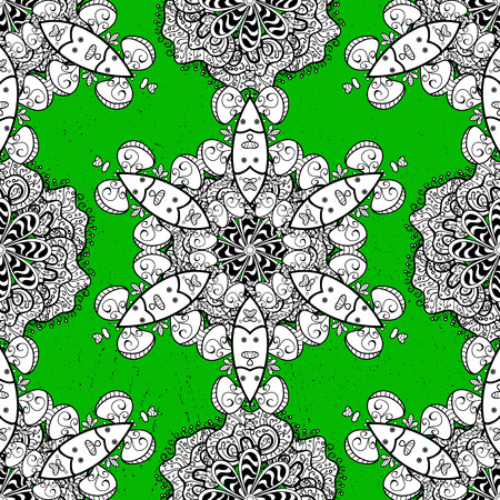 Rough oriental classic white pattern. Vector abstract background with white repeating elements on a green background.
