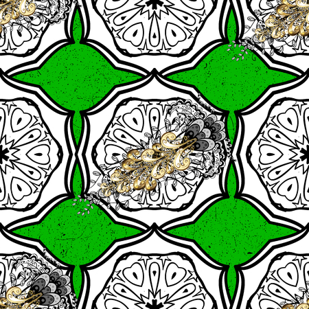 Vector pattern on green background with golden elements. Damask pattern for design.