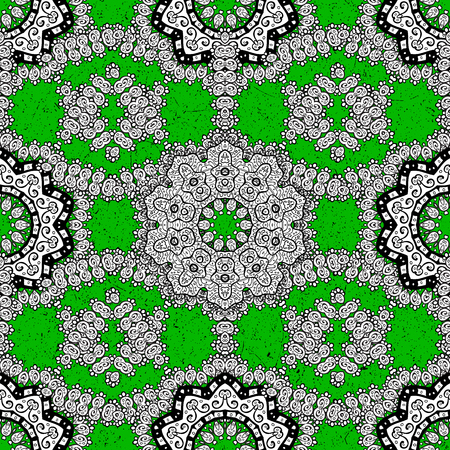 Vector pattern on green background with white elements. Damask pattern for design.