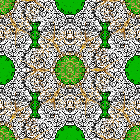 Oriental classic golden pattern. Vector abstract background with repeating elements. Green on background.