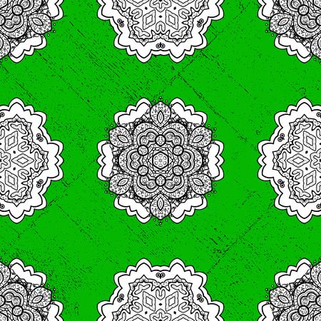 Oriental style arabesques. White textured curls. Colored pattern on green background with white elements. Vector white pattern. Illustration