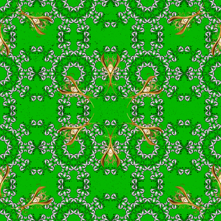 Vector golden pattern on green background with golden elements. Abstract sketch, wrapping decoration. Golden snowflake simple pattern. Symbol of winter, Merry Christmas holiday, Happy New Year 2018
