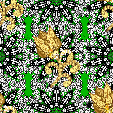 Vintage pattern on green background with golden elements. Christmas, snowflake, new year.