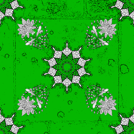 Vector oriental ornament. Pattern on green background with white elements. White pattern. Illustration