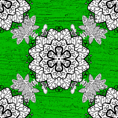 Traditional orient ornament. Classic vector white pattern. Pattern on green background with white elements. Classic vintage background. Vector illustration.