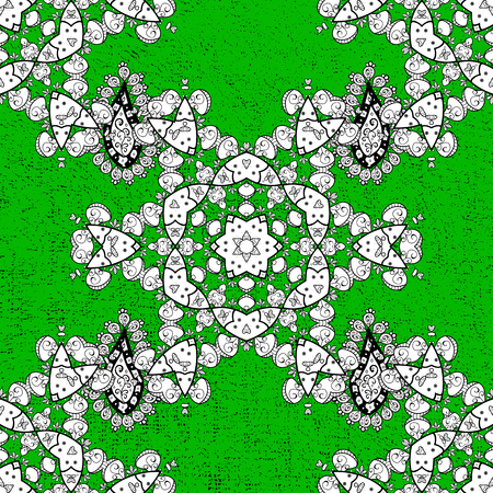 Traditional classic white vector pattern on green background with white elements. Oriental ornament in the style of baroque.