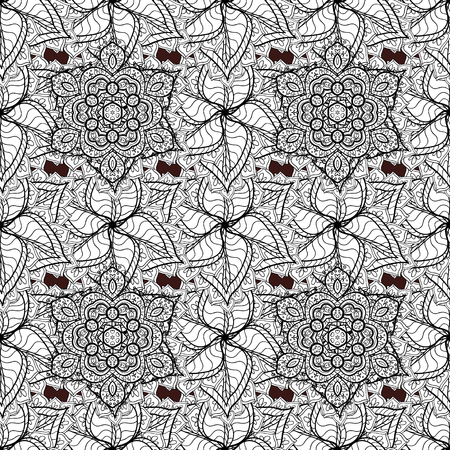 forked: White pattern on brown background with white elements. Seamless white pattern. Vector oriental ornament. Illustration