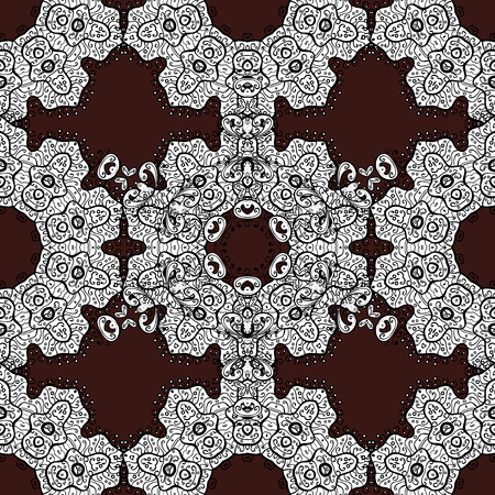 Vector illustration. Vintage seamless pattern on a brown background with white elements.
