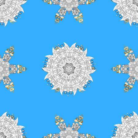 Classic vintage background. Seamless classic vector blue and golden pattern. Traditional orient ornament with white doodles.