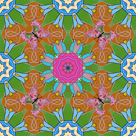 ritual: Creative Seamless pattern with Mandalas. Vector ornaments, background. Seamless pattern with abstract ornament.