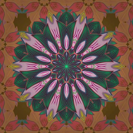ヨガのロゴ、瞑想ポスターの背景。カラフルなマンダラです。装飾的な色の丸い飾り。インドの花曼荼羅。抗ストレス マンダラ。東洋繁栄ベクトル。