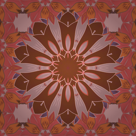 Vector hand-drawn mandala, colored abstract pattern on a colorful background.