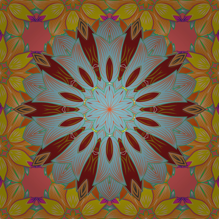 Hand-drawn colored mandala on a colorful background. Vector abstract pattern. Illustration