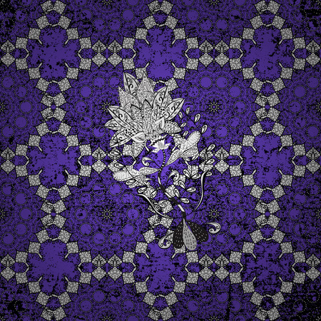 White texture curls. Openwork delicate white pattern. Oriental style arabesques. Vector. Brilliant lace, stylized flowers, paisley. Pattern on violet background with white elements.