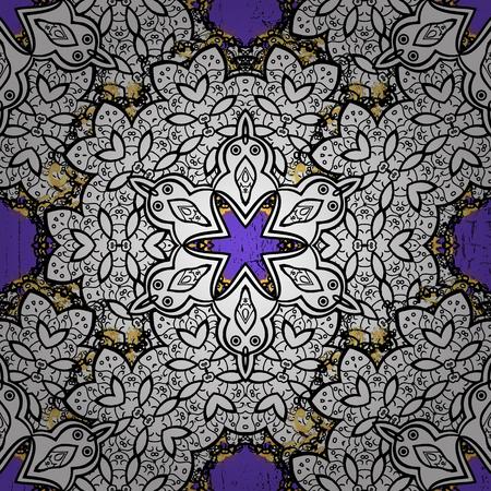 Golden pattern on violet background with golden elements. For your design, sketch. Golden color seamless illustration. Vector geometric background. Векторная Иллюстрация