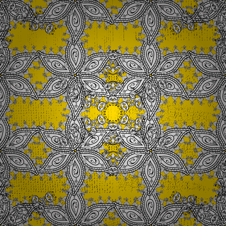 Abstract background. Oriental vector classic yellow and golden pattern. Illustration