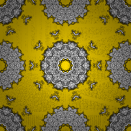 Yellow background with golden elements. Oriental ornament in the style of baroque. Traditional classic vector golden pattern. Illustration