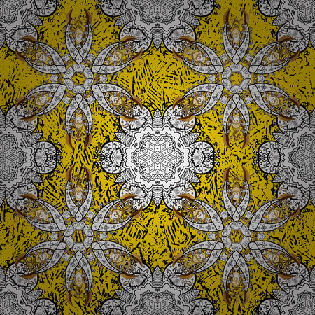Golden pattern. Vector oriental ornament. Golden pattern on yellow background with golden elements.