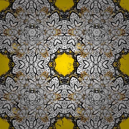 attern: Oriental style arabesques. Golden textured curls. ?attern on yellow background with golden elements. Vector golden pattern.
