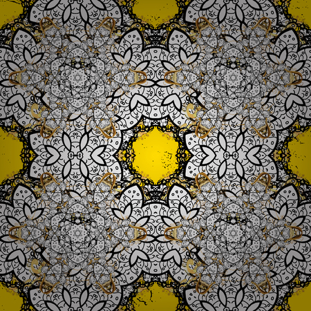 Oriental style arabesques. Golden textured curls. ?attern on yellow background with golden elements. Vector golden pattern.