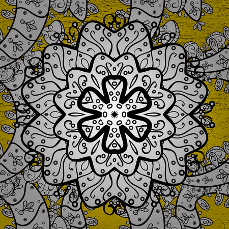 Classic vector golden pattern. Classic vintage background. Vector illustration. Pattern on yellow background with golden elements. Traditional orient ornament. Illustration
