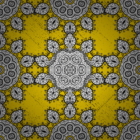 Golden pattern on yellow background with golden elements. Golden pattern. Vector oriental ornament.