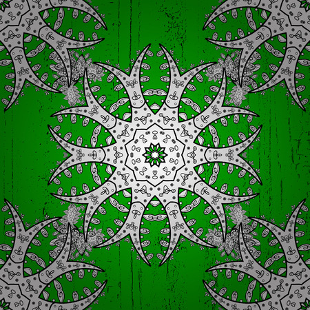White textured curls. Oriental style arabesques. Vector white pattern. Green background with white elements.