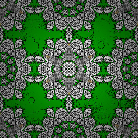 Islamic design. Floral tiles. Vector white textile print. White pattern on green background with white elements. Pattern oriental ornament. Illustration