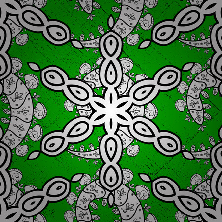 Vector white pattern. White textured curls. Oriental style arabesques. ?attern on green background with white elements.